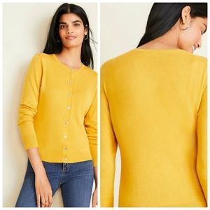 ANN TAYLOR FACTORY SWEATER BUTTON  YELLOW  SMALL